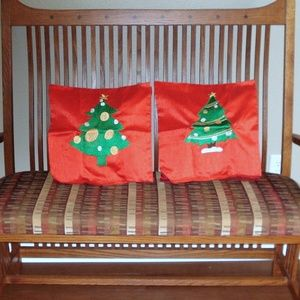 """Set of Silk Embroidered Xmas Tree 16"""" Pillow Cases"""